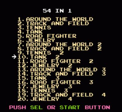 54-in-1 (Game Star - GK-54) (Menu)